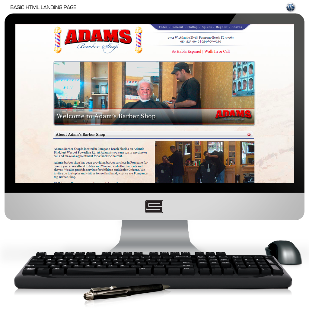 Adams Barbershop Website Design